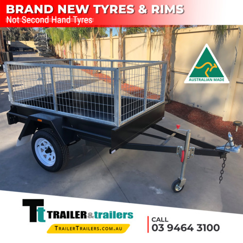 7x5 SINGLE AXLE BOX TRAILER - 2ft CAGE - SMOOTH FLOOR - FIXED FRONT - NEW TYRES