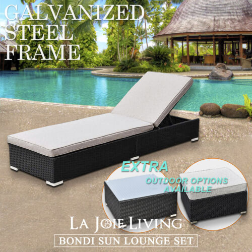 Outdoor Sun Lounge Bed Wicker Rattan Furniture Pool Cushion Garden Sofa Deck <br/> Limited time 10% off SALE!