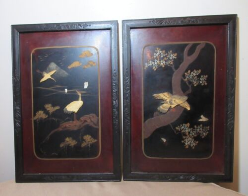 pair of 2 antique Japanese lacquered carved wood figural bird wall panel art