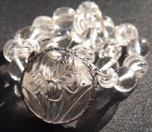 Art Deco Chinese Carved Rock Crystal Quartz Necklace Sterling Silver Clasp 104g