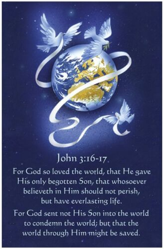 JOHN 3:16-17 Christian Art Print Poster, Inspirational Bible Scripture Verse