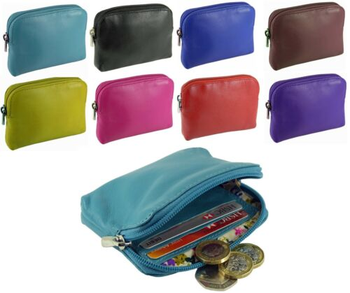 Small Soft Leather Credit Card Holder Coin Zip Purse 0-327 - 10 colours Golunski