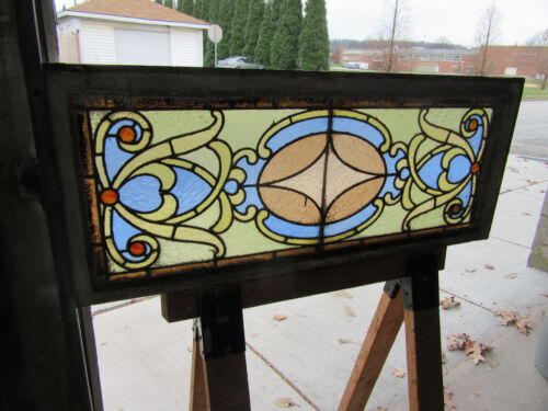 ANTIQUE AMERICAN STAINED GLASS TRANSOM WINDOW 42 X 17 ~ ARCHITECTURAL SALVAGE ~