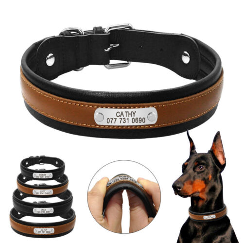 Genuine Leather Personalized Dog Collars Soft Padded Large Dogs Collar Black