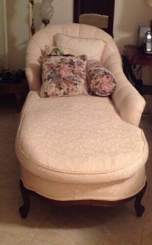 Antique Down Filled Chaise Lounge Fainting Couch Ivory Brocade