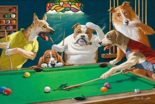 Home Wall Dogs Playing Pool billiards Oil Painting Picture Printed On Canvas VI