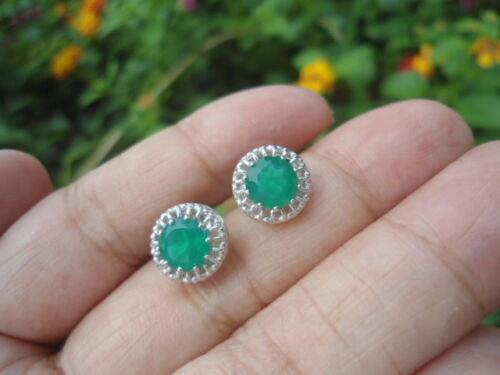 Natural Green AGATE 6.0MM 925 Silver STUD EARRINGS
