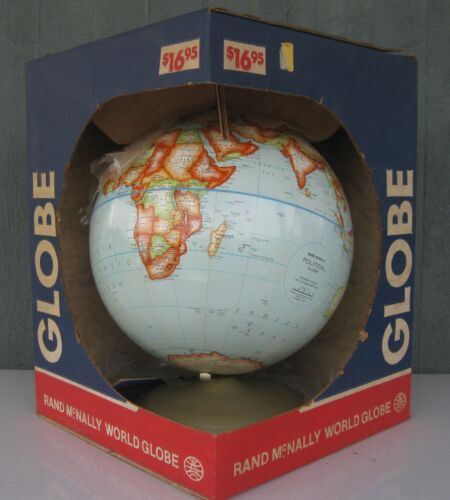"Vintage 1977 Rand McNally Political Globe Raised Relief 12"" NEW IN BOX!"
