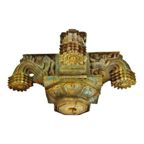 Antique Indonesian Hand-Carved Decorative Wood Column Capital