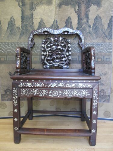 Beautiful 18-19th Century Qing Dyn. Chinese Rosewood Mother of Pearl Inlay Chair