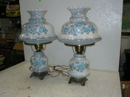"2 Vintage Gone With the Wind Oil Lamp 25"" Blue Roses Flowers Glass Antique Brass"
