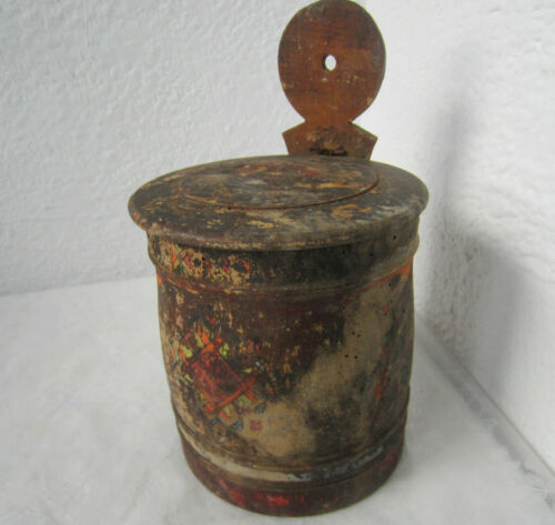 antique PRIMITIVE WOODEN water bucket / pail hand painted, flowers, heavy