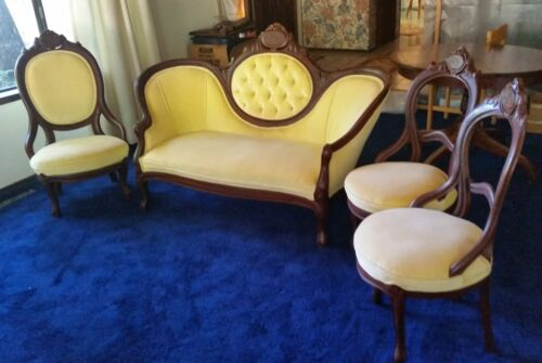 Antique Victorian style yellow tufted cameo parlor sofa & three chairs can ship!