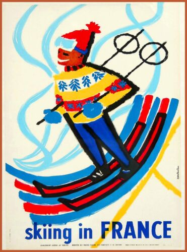Skiing in  France French Winter Sports Ski Vintage Travel Advertisement Poster