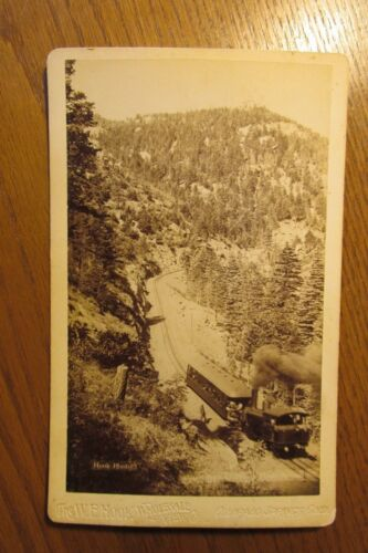 sba13 Stereoview Cabinet Card photo Railroad Pikes Peak W. Hook Photograph 1890s