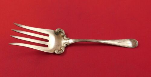 "Shreve Sterling Silver Beef Fork 7"" Beaded Vintage Antique"