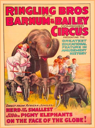 Ringling Bros and Barnum & Bailey Elephants Vintage Circus Travel Poster