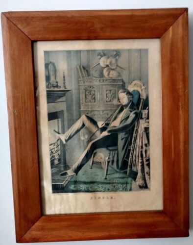 """*Authentic Early Nathaniel Currier 1845 Lithograph - """"Single"""" - Rare Edition"""