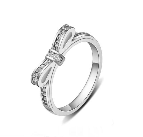 Tiny Knot 925 Sterling Silver 1.0 Cts Cubic Zirconia Engagement Wedding Bow Ring