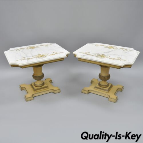 Vtg French Empire Neoclassical Style Marble Top Wood Urn Base Side Tables a Pair