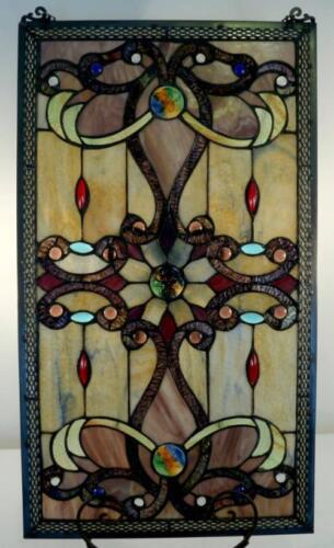 "Elegant Tiffany Stained Glass Metal-Weave Border Window Panel, 26"" x 15"""