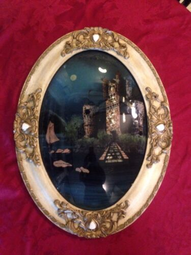 """On The Danube"" Antique Reverse Painted Convex Bubble Glass Ornate Oval Frame"