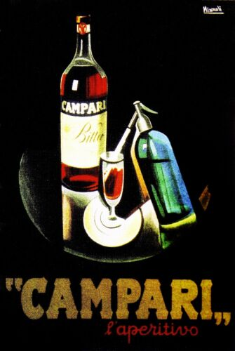 Campari l' aperitivo Liqueur Italy Vintage Wine Advertisement Art Poster Print