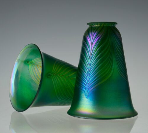 """Green Iridescent Pulled Feather Arts & Crafts Glass Lamp Shades 2.25"""" Fitter"""