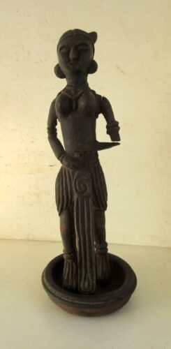 Vintage Old Wooden Hand Carved Home Decor Tribal Art Standing Lady Figure Statue
