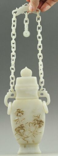 China old natural hetian jade hand-carved statue jade chain bottle rings vase
