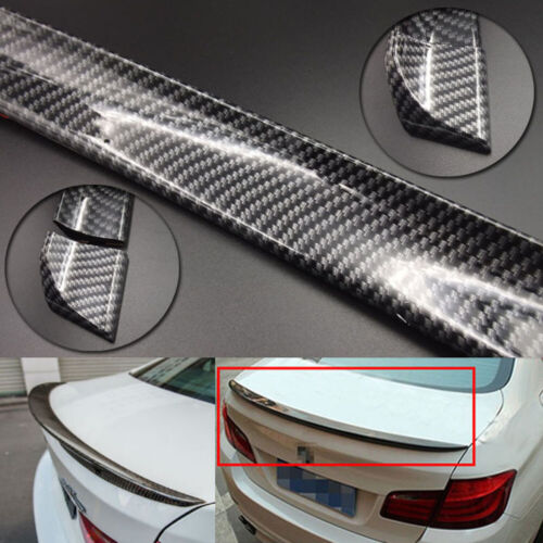 4.9ft Universal Carbon Fiber PU Car Rear Roof Tail Trunk Spoiler Wing Lip Trim