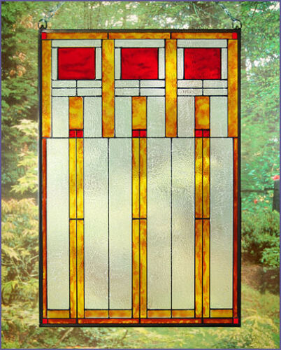 Arts and Crafts Prairie Squares Red Art Glass Panel MGV003