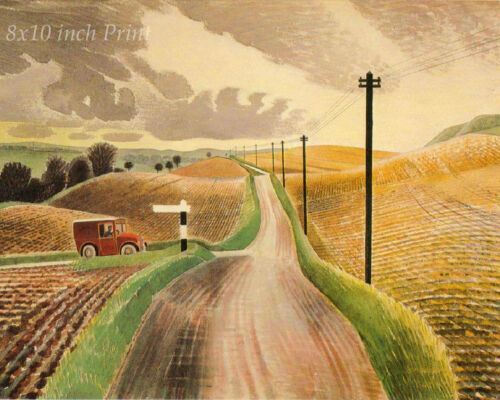 Wiltshire Landscape by Eric Ravilious - English Country  8x10 Print Picture 1756