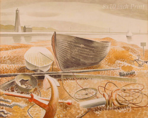 Anchors and Boats Rye by Eric Ravilious - Sea Lighthouse 8x10 Print Picture 1766