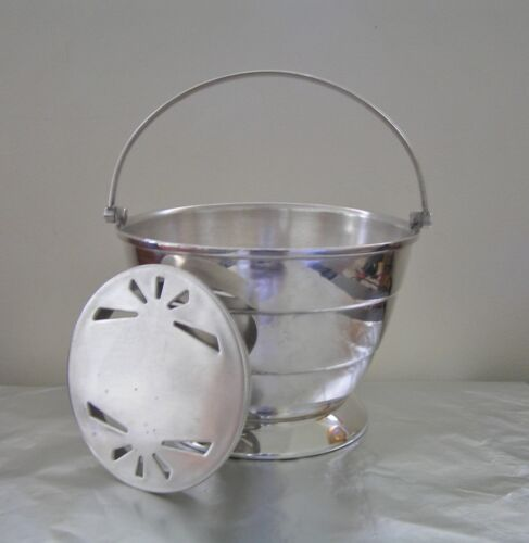 Art Deco Silver Plated Ice Cube Bucket with Water Drip Tray Insert