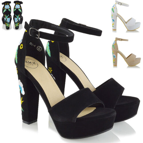 Womens Strappy Platform High Heel Sandals Ladies Ankle Strap Embroidered Shoes
