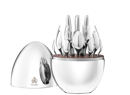 MOOD by Christofle France 24-Piece Silver Plated Flatware Set with Egg Brand New