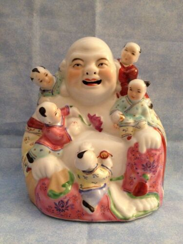 Vintage Porcelain Famille Rose Laughing Buddha 5 Happy Children Detailed NICE
