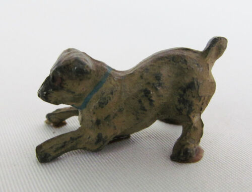 "Vintage Miniature Bronze ? Painted Metal 1"" Pug Dog Figurine"