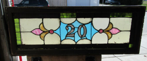 ~ ANTIQUE STAINED GLASS TRANSOM WINDOW ~ ADDRESS 20 ~ 51 x 19 ~ SALVAGE