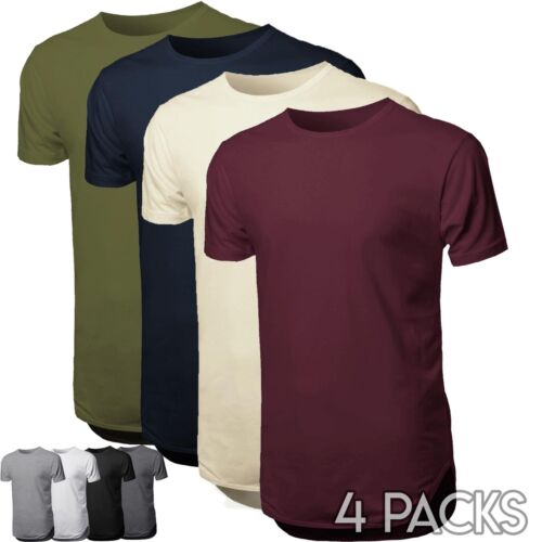 HC Mens BASIC HIPSTER T Shirts Casual Extended Longline BULK Hip Hop 4 LOTS Tee