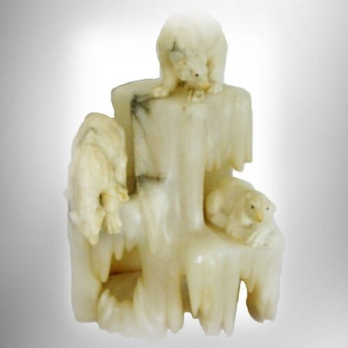 Vintage polar bear and iceberg alabaster marble lamp