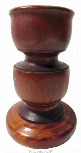 Candlestick Candle Holder Rosewood Vintage 80s Turned Wood Pedestal 19.5 cm Tall