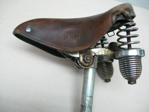 VTG NSU WWII TIME RARE GERMAN WEHRMACHT BICYCLE BIKE LEATHER SADDLE SEAT RETROOriginal Period Items - 13981