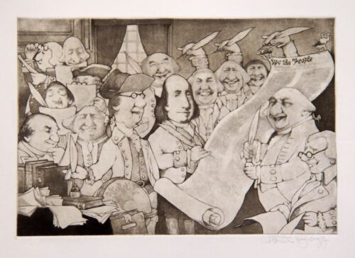 """Charles Bragg """"Declaration of Indepence"""" etching ed 403/1000"""