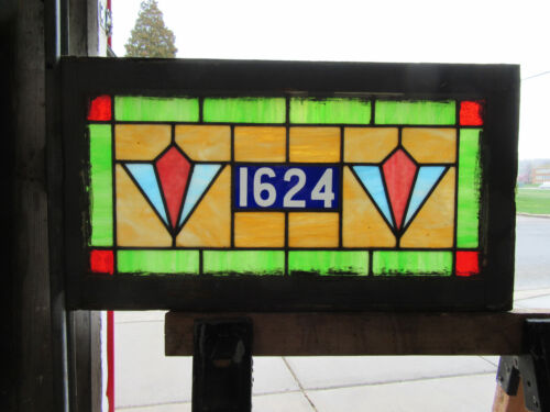 ~ ANTIQUE STAINED GLASS TRANSOM WINDOW ~ 30 x 16 ~ ADDRESS 1624 ~ SALVAGE