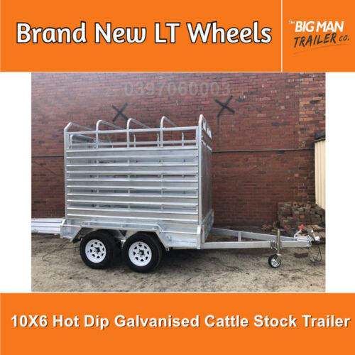 10X6 TANDEM HOT DIP GALVANISED LIVE STOCK CRATE CATTLE TRAILER 2800GVM