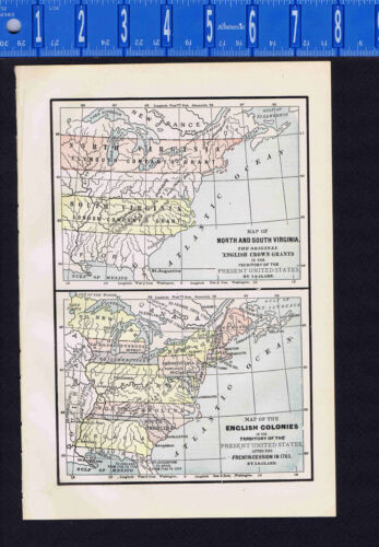 Virginia English Crown Grants & English Colonies after 1763 - Map Print -- 1907