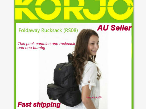 182b2f6321 2X Korjo Travel Bags Backpack Day Back Pack Rucksack+Money Belt Bum Bag  Pouch AU