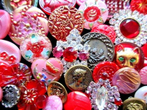 BUTTONS Victorian Mix of VINTAGE & NEW Glass & Metal & Rhinestone  Reds & Pinks